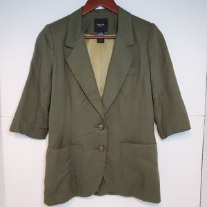 Smythe copine linen cotton blend green blazer 6